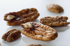 Pecan nuts, close-up Stock Photos