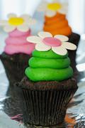 Chocolate cupcakes with colourful buttercream and sugar flowers Stock Photos