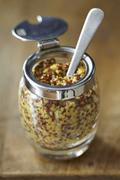 Coarse-grained mustard in a jar with a spoon Stock Photos