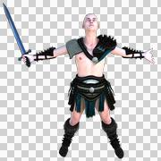 One young bald warrior in the Roman light armor. Barbaric Stock Illustration