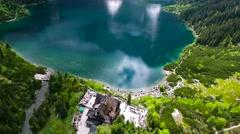 Beautiful mountain lake with waterfals Stock Footage