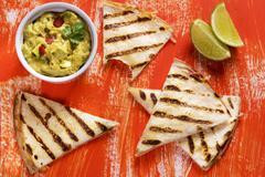 Grilled tortillas with guacamole Stock Photos