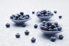 Fresh blueberries in bowls and alongside Stock Photos
