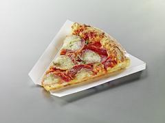 A slice of pepperoni pizza with cheese Stock Photos