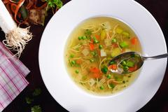 Noodle soup with vegetables (view from above) Stock Photos