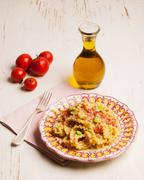 Lasagnette pasta with bean ragout and olives (Puglia, Italy) Stock Photos