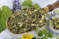 A mix for herbal tea, made with lemon balm, passion flowers, St. John's wort, Stock Photos