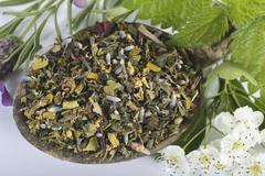 A mix for herbal tea with mistletoe, hawthorn leaves, stinging nettles, Stock Photos