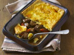 Beef Pie in the dish it was baked in (England) Stock Photos