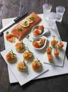 Smoked salmon canap Stock Photos