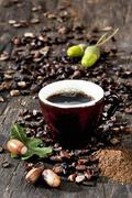 A cup of coffee made from roasted acorns Stock Photos