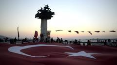 Turkish flag in alsancak Izmir Stock Footage