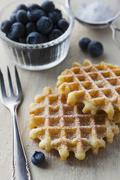 Waffles with icing sugar and fresh blueberries Stock Photos
