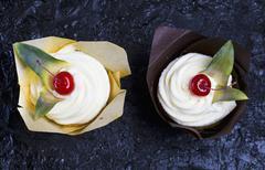 Pina colada cupcakes Stock Photos