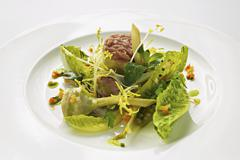 Stuffed artichokes with veal tartar and cos lettuce Stock Photos