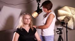Professional makeup in studio Stock Footage