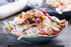 Noodle stew with chicken and vegetables (Asia) Stock Photos