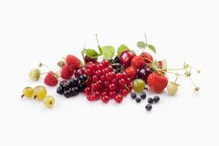 Fresh berries and cherries Stock Photos