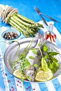 Fresh trout with herbs, lemon, asparagus and spices Stock Photos