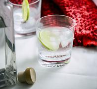 Gin and tonic cocktail made with Gin & Titonic products Stock Photos