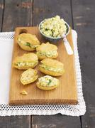 Eclairs with avocado paste Stock Photos