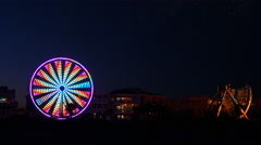 Savannah Tybee Island Beach Ferris Wheel Time Lapse Stock Footage