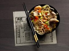 Egg noodles with seafood (Asia) Stock Photos