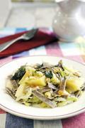 Pizzocheri della Valtellina (buckwheat pasta, Italy) with cheese, cabbage, Stock Photos