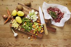 Ingredients for lamb stew with potatoes and beans Stock Photos