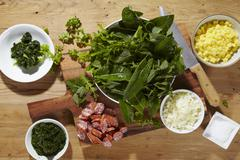 Ingredients for Heggenmös (stew made with wild herbs, green kale and sausages) Stock Photos