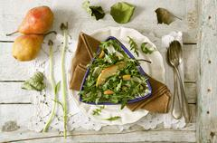 A green salad with pear Stock Photos