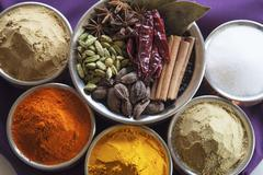 A Variety of Spices; From Above Stock Photos