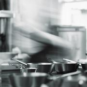 A chef in a restaurant kitchen Stock Photos