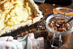 Homity pie with apple chutney Stock Photos