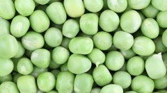 Fresh green pea rotate. Green pea clockwise rotation . Close up Stock Footage