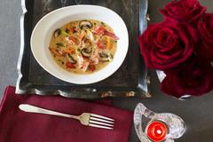 Lobster soup with mushrooms for Valentine's Day Stock Photos
