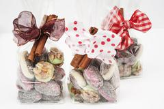 Christmas confectionery in cellophane bags as gifts Stock Photos