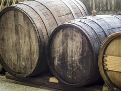 Old wine barrels in a cellar in the Kakheti wine region, Georgia, Caucasus Stock Photos