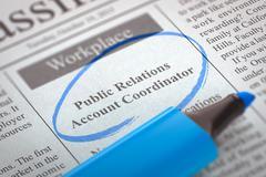 Job Opening Public Relations Account Coordinator. 3D Illustration Stock Illustration