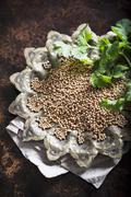 A bowl of mustard seeds Stock Photos