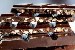 Dark chocolate with crispy nougat Stock Photos