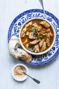 Fish soup with bread (seen from above) Stock Photos