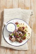 Keftedes (meatballs with pita bread and tzatziki, Grecce) Stock Photos