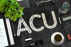 ACU Concept on Black Chalkboard. 3D Rendering Stock Illustration