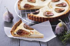 Tart with goat's cheese and figs Stock Photos