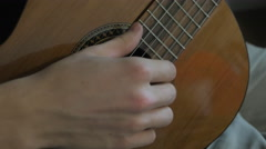 Acoustic Guitar Close Up Player Strumming Stock Footage