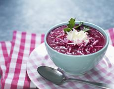 Beetroot soup with horseradish Stock Photos