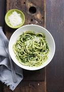 Spaghetti with spinach and Parmesan Stock Photos