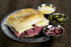 A corned beef and Cheddar sandwich Stock Photos