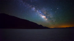 Astro Time Lapse of Milky Way over Badwater in Death Valley -Tilt Up- Stock Footage